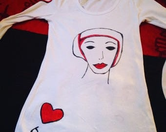 T shirt with hand painted Face on front and Butterflied on the back
