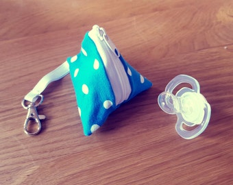 Pacifier Pocket - light blue with white dots