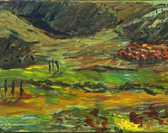 "Original Acrylic Painting on Canvas- Armenia - Landscape, Fields, Green, Yellow, Fine Artwork, 40x60cm (15.7""x 23.6"")"