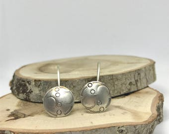 Stamped Earrings, Cyclical, Domed -Sterling Silver