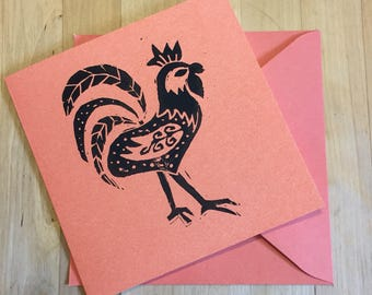 Chicken Lino Print Card