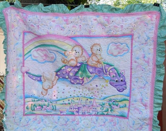 Baby quilt/Bears riding Dragon quilt