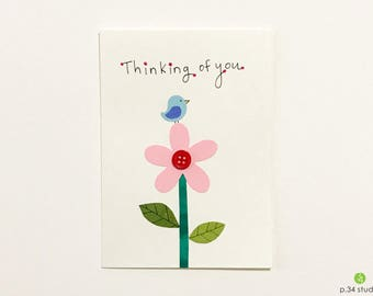 Thinking of you, handmade card, blue bird and flower