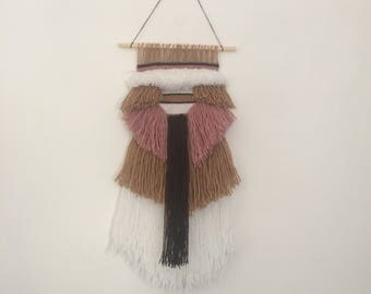 Woven Wall Hanging - Brown and Pink