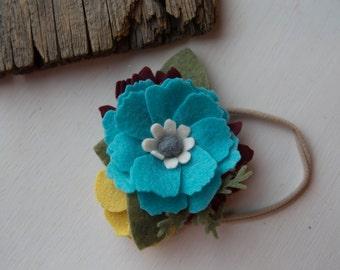 Teal Blue Felt Flower Headband