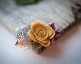 Mustard Felt Flower with Feathers Hair Clip