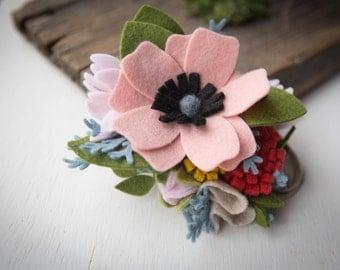 "Felt Flower Headband ""Pink Blooming Forrest"""