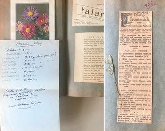 Vintage Scrapbook 1930's - Poetry - Ephemera