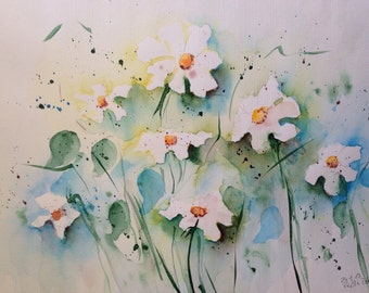 "Watercolor, flowers ""Daisies"" nature, 30 x 40 cm, unique"