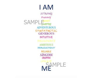 I am Me Digital Art Printable, 8x10, Instant Download