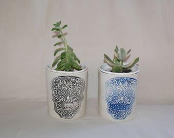 Small ceramic sugar skull planter