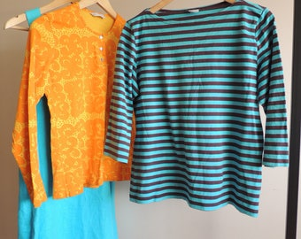 FREE SHIPPING - Vintage MARIMEKKO Blue and brown  striped 3/4 sleeve Cotton top, size L, made in Finland