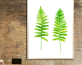 Fern watercolor print Fern Art print Fern Wall decor Botanical watercolor print Fern Leaves home decor Fern poster Fern painting