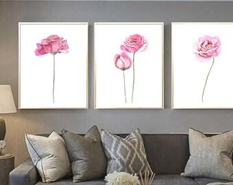 Rose watercolor painting Set of 3 Flower watercolor print Rose art print Rose poster Pink flower decor Pink Rose Rose Illustration Rose art