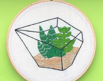 Succulent Terrarium Hand Stitched Embroidery Hoop Art // Wall Hanging // Quirky Gift