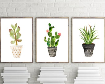 Cactus print set, Set of 3, Succulent print, cactus prints, cacti print, botanical print, cactus wall art, print set, tropical decor