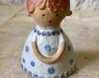 vintage UCTCI stoneware figurine, candle holder, girl in blue and white dress, made in japan
