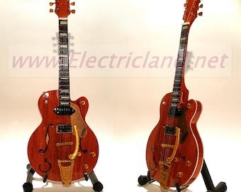 Mini Guitar Brian Setzer's orange Stray Cats Gretsch chitarra MINIATURE HANDMADE in genuine wood