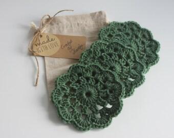 Set of 3 Handmade Crochet Green Coasters