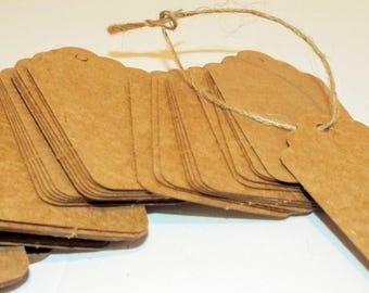 """50 Medium Kraft Brown Scallop Tags with twine. Hang Tags. Traveled or gift tags. 1.5"""" x 2 7/8"""""""