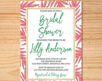 Summer Bridal Shower Invitation, Pink and Green Shower Invite, Tropical Bridal Shower, Leafy Bridal Shower Invite, Pink Leaf Invitation