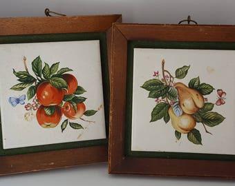 """Set of 4 vintage framed fruit pictures, 6"""" x 6"""" wall decor"""