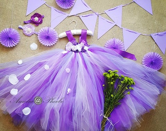 Royal Purple & Lilac Flower Girl Tutu Dress, Purple Princess Tutu Dress, Lavender Purple Tutu ,