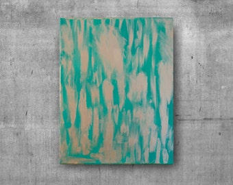 Abstract Acrylic Teal and Gold Leaf Painting