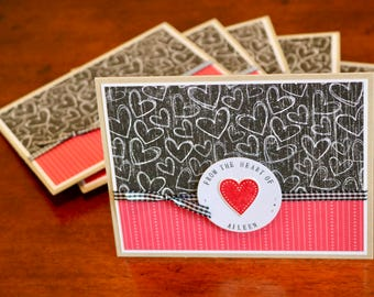 Set of 6 hand stamped note cards, PERSONALIZED to your CUSTOM greeting or name, hearts and stripes