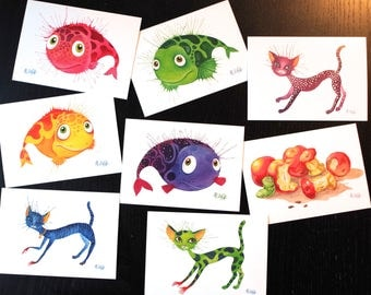 Postcards set fish, fine art postcards, watercolour, 8 postcards set