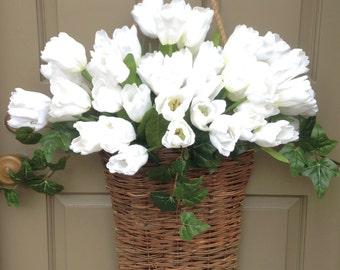 White Tulip Market Basket