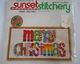"""Stitchery Kit """"Merry Christmas"""" Crewel Kit Vintage 1980 Kit by Sunset Stitchery"""