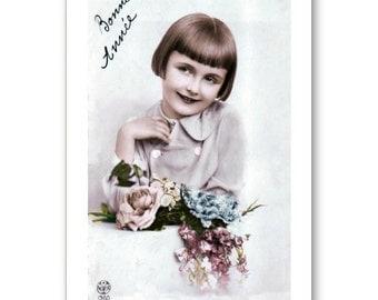 Personalised Handmade Greetings Card ~ Vintage Postcard of A Child  #12