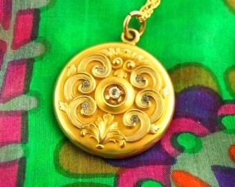 Nouveau Locket Necklace - Repousse Locket - Paste Locket - W&H Co - 1900s Locket - Gold Filled Locket - Wedding Locket - Vintage Jewelry