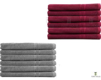 6 Pieces Bath Towels Set 100% Pure Egyptian Cotton 600GSM Commercial Quality