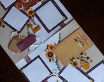 Premade 12 x 12 scrapbook page, general scrapbook page, scrapbook page kit, scrapbook page handmade, sunflower scrapbook page, smile page