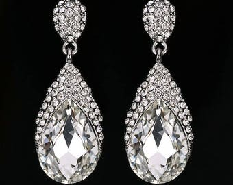 SALE 20% OFF- Bridal Wedding Silver Plated Crystal Drop Earrings