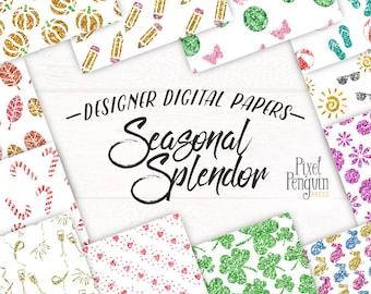 Floral Glitter Digital Paper, Glitter Pattern Graphics, Printable Scrapbook Paper, Summer Planner Graphic, Glitter Digital Download, Fashion