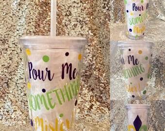 Mardi Gras tumbler customizable New Orleans louisiana cup