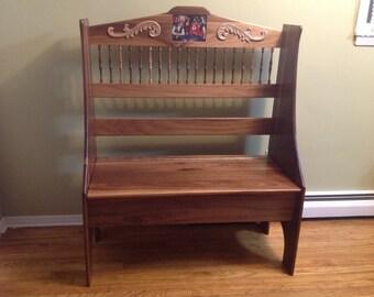 Solid walnut bench