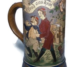 Antique German Incised Beer Stein