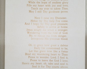 Custom Hymn / Song on Canvas, 16 x 20 Come thou Fount, Wall Hanging, Rustic