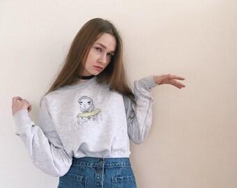 Anastasia' hand embroidery illustration sweatshirt