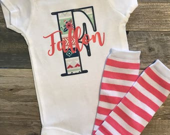 Personalized one piece, baby girl bodysuit, coming home outfit, aztec