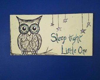 Owl painting; Sleep tight little one; nursery painting