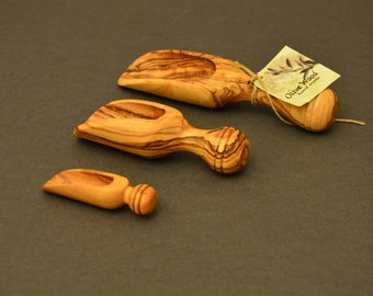 Olivewood measure,scoup set of 3 pieces