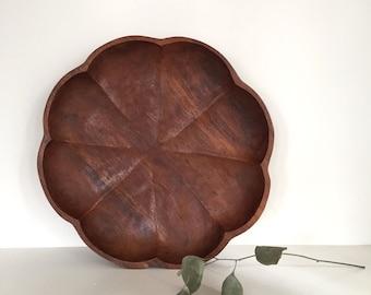 Octagonal Clover Wood Bowl Tray