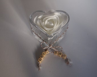 "Glass "" LOVE YOU"" heart shaped, white rose holder."