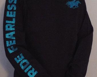 Ride Fearless Ladies Western Long Sleeve T-Shirt - Black / Aqua Glitter