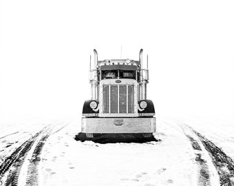 Contemporary Truck Photo // Americana Photo // Wall Art // Black and White Photography // Mid Century Modern // Boys Room // Peterbilt Truck